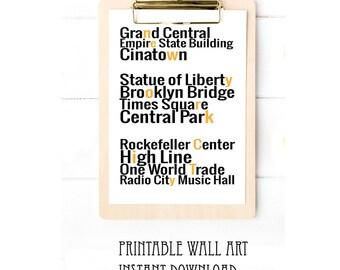 New York City Landmarks Print Wall Art Printable Typography Digital Download 5x7 8x10 A4 A5