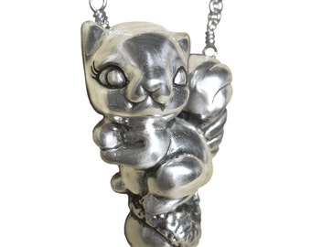 Squirrel Necklace      acorn silver gold nut jewelry