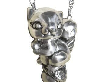 Squirrel & Nut Necklace silver gold