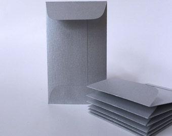 100 Metallic Silver Envelopes, Mini Envelope, Business Card Holder,  Bulk envelopes