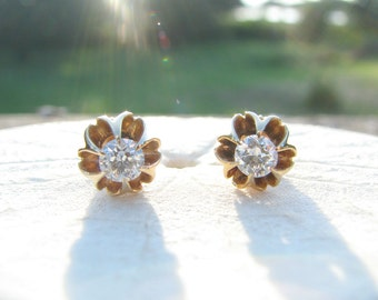 Fiery Diamond Stud Earrings, European Cut Diamonds in 18K Gold, Bright and Sparkling, approx .50 ctw