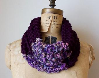 Cyber Monday SALE! Purple knit cowl. Handmade knitwear. Plum infinity scarf. Chunky neckwarmer. Warm circle scarf.