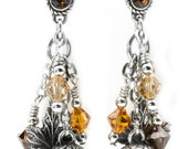 Autumn Earrings - Silver Leaves Earrings - Holiday Earrings - Fall Season Earrings - Dangle Earrings - Leaf Earrings