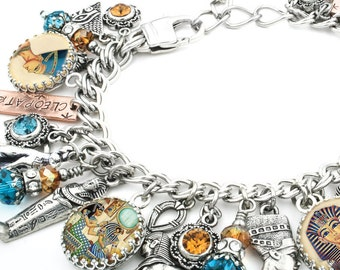 Egyptian Charm Bracelet, Silver Charm Bracelet, Egyptian Jewelry, King Tut Bracelet, Queen of the Nile, Egyptian Bracelet