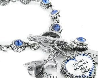 Personalized Police Officer Jewelry, Birthstone Police Wife Bracelet, Deputy Sheriff, Highway Patrol, Law Enforcement Jewelry