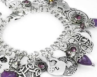 Amethyst Bracelet - Amethyst Jewelry - Celtic Jewelry - Irish Jewelry