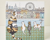 London Cats Greeting Card