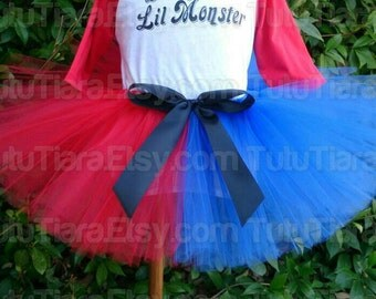 "Harley Quinn Suicide Squad Tutu Halloween Costume Tutu Red and Blue 8"" Economy Tutu Skirt for Girls - Tutu Only"