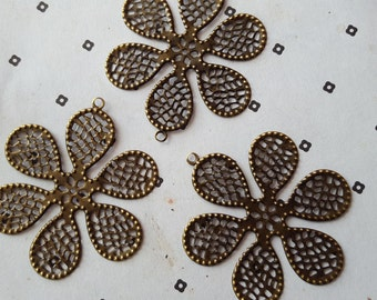 Antiqued Brass Flower Filigree Stamp Connectors (3)