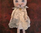 girl art doll, sandy mastroni , original doll, tattered quilt,sweet weird doll, whimsical doll art