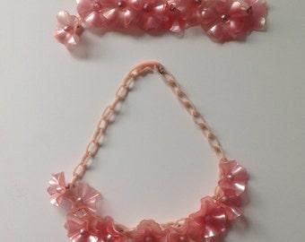 Vintage Demi Parure Pink Celluloid Necklace Bracelet