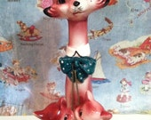 FREE SHIPPING Very RARE Pink Cat Family Vintage Antique Collectibles or Cake Toppers