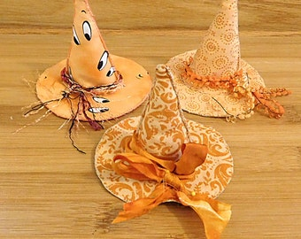 Halloween  Witch Hat in Pumpkin Orange Ornament Bowl Filler Decorations