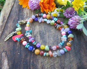 Rainbow Stone Double Wrap Bracelet - Feather Charm - Boho Colorful Choker - Bohemian Free Spirited Jewelry - Multi Strand Gypsy - Good Vibes
