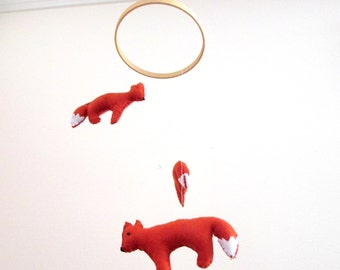 Red Fox Mini Baby Crib Mobile Woodland Nursery Mobil Wild Animal