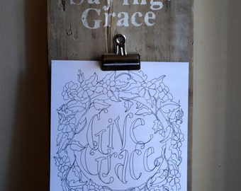 Saying Grace Clip Board - Vintage Reclaimed Wood