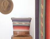 Boho Crossbody Bag. Slouchy Brown Leather Bag. Southwestern Bag. Striped Hobo Bag.