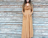 ORGANIC Super Cowl Perfect Pockets Long Dress - ( light hemp andorganic cotton knit ) - organic hemp dress