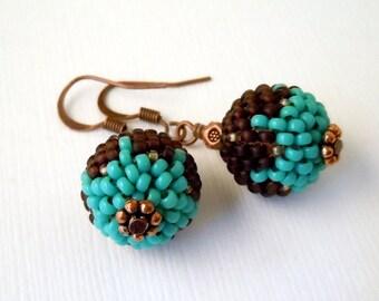 Turquoise, Brown, Beaded Beads, Peyote, Seed Bead Earrings, Beaded Earrings, Casual, Fun, Dangle,