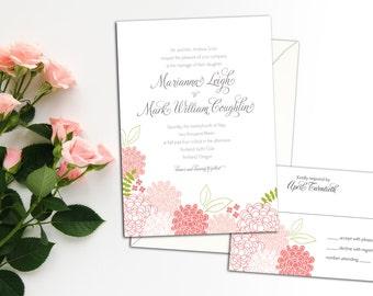 Spring Blossoms Wedding Invitation set, Spring Wedding, Garden Wedding, Floral Wedding Invitation and response, Thank you cards,Garden Party
