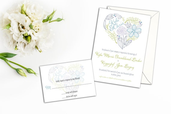 Floral Heart Wedding Invitation Set, Heart Wedding Invites, Whimsical Wedding Invitations, Wedding response cards, Colorful Heart, Fun Heart