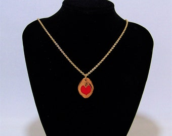 Walnut and Red Heart Pendant with a Gold Chain Necklace (choose from 2 sizes) OOAK #10 Love in a Nutshell