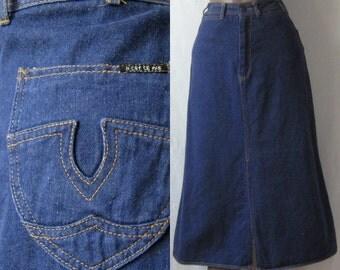 70s Denim Skirt Vintage Blue Jean Midi Skirt 1970s Jean Skirt