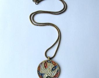 Bird Necklace 60s Peace Dove Necklace Bird Pendant Necklace Hippie Jewelry