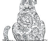 Sitting Pretty Cat Coloring Page, Cat Printable Coloring Pages, Adult Coloring Pages, Digital Illustration, INSTANT DOWNLOAD PRINT