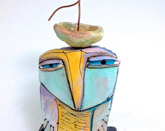 "Owl, ceramic owl sculpture, handmade,  ""Owl Person and Dancing Beauty Bird, Springtime!"", 8-1/4 "" tall"