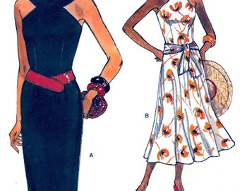 Chic Halter dress summer casual fashion Vintage 80 sewing pattern Vogue 9359 Size 6 to 10 Uncut