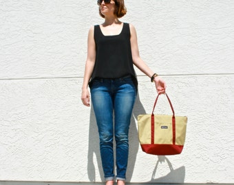 Large Tote Bag in Red and Cream