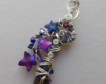 Purple Ivy Vine Key Pendant -- Faery Enchanted Vine, Small Purple Leaves, Silver Wire, Swarovski Crystals, Purple Ivy Leaves