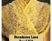 Decadence Lace Cotton Cowl kit by Deborah Tomasello using 4-ply Gradient tied cotton