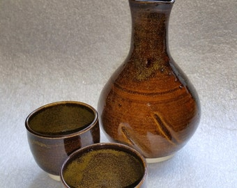 Dark Amber with Golden Speckles (TeaDust) Sake Set with Two Cups Wheel Thrown Pottery - Altered