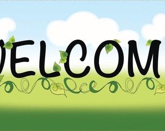 "WELCOME - 6""x12"" Fabric Art Panel"