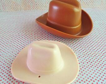 Pair of Cute Little Vintage  Plastic Cowboy Hats