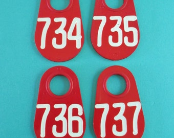 Set of Four Doublesided Red Vintage Cow Tags