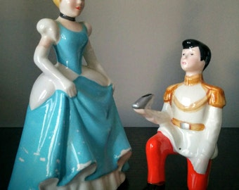 As Is - Vintage Disney Cinderella and Prince Charming Figurine Ceramic Japan Wedding Decor Topper Engagement Party Decor Groom's Cake