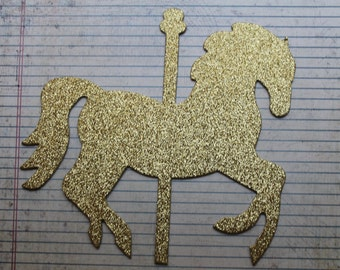 "1 Extra Large  Gold Glitter on both sides die cut Carousel HORSE 7 7/8"" x 7 3/8"""