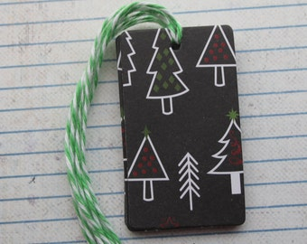 27 Christmas gift tags whimsical Christmas tree on black patterned paper over chipboard