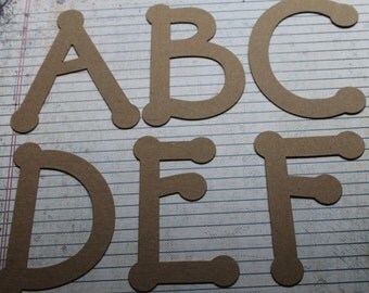4 inch DOT uppercase bare chipboard alphabet set 26 pieces total