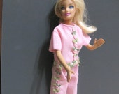 Barbie Doll Clothes, Pink Pants and Top, flower trim, Cropped pants, two pieces