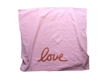 Blush and Copper Love Flour Sack Towel / Love Tea Towel / Love Dish Towel / Plant based Dyes
