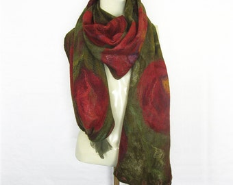 Felted Nuno Scarf Wool Silk Shawl Olive-Green Red Burgundy Yellow Purple Extra Long Floral Flowers Roses
