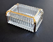 Vintage Crystal Cut Box for Jewelry, Trinkets -Clear & Gold Rectangular Casket Glass Candy Dish with Lid Art Deco Style Glass Display Case