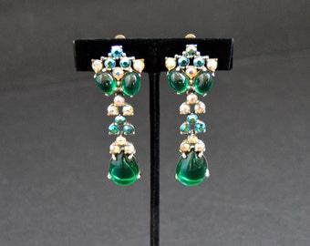 Schiaparelli Emerald Earrings - Long Dangling Green Cabochon & Aurora Borealis Rhinestones Vintage Designer Signed Clip Earrings Large