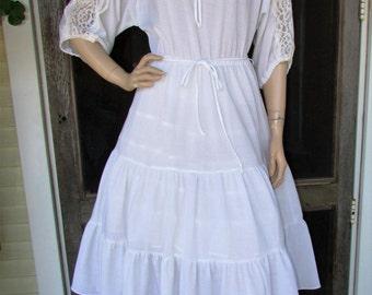 70s Boho Ruffle Dress Vintage 1970s Sheer White Lace Tea Garden Party Festival Hippie Dress M