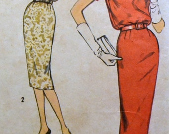 Vintage 1958 Sewing Pattern Simplicity 2681 Misses' Wriggle Dress  Bust 33 Inches