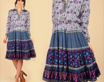 ViNtAgE 70's Indian Cotton Dress Floral Bohemian Hippie BoHo Tiered Skirt Blue Medium M
